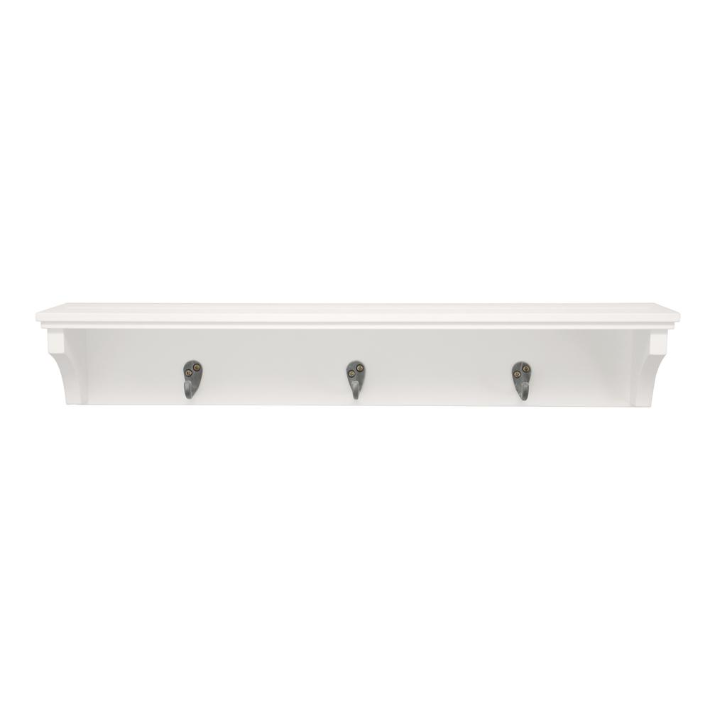 kiera grace finley 24 in w x 4 in d with 3 metal hooks white wall rh homedepot com Wall Shelves for Girls decorative shelves with hooks or knobs