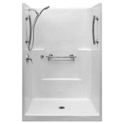Imperial-SA 37 in. x 48 in. x 80 in. 1-Piece Low Threshold Shower Stall Package in White, LHS Shower Kit, Center Drain