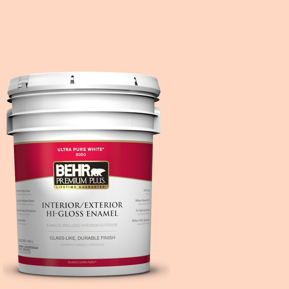 BEHR Premium Plus 5-gal. #240A-2 Sunkissed Peach Hi-Gloss Enamel Interior/Exterior Paint