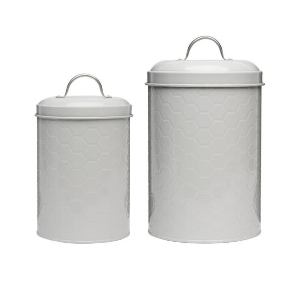 Amici Home Hampton 2-Piece Metal Storage Canister Set with Arched Handles