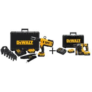 Dewalt 20-Volt MAX Lithium-Ion Cordless Copper Pipe Crimper Kit w/ (2) Batteries 4Ah, Charger, Case and Bonus... by DEWALT
