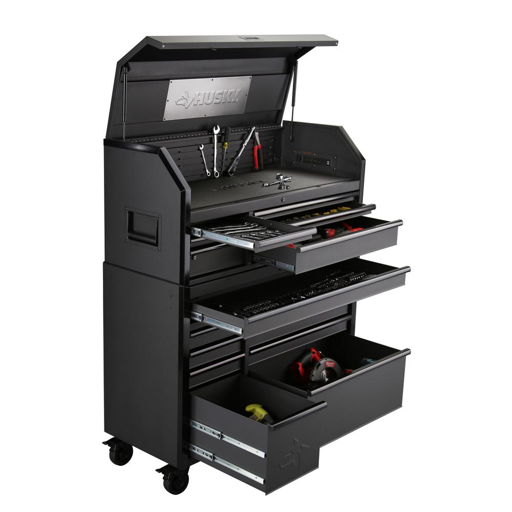 Husky Tool Cart >> Husky Heavy Duty 52 In W 15 Drawer Deep Combination Tool Chest And Rolling Cabinet Set In Matte Black