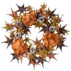 24 in. Artificial Harvest Wreath with Hydrangea, Maples and Berries