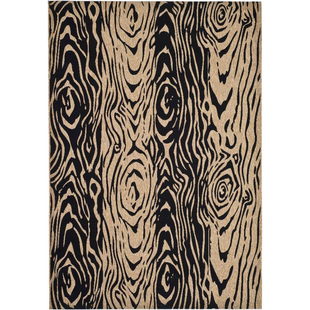 Martha Stewart Living Layered Faux Bois Coffee/Black 4 ft. x 5 ft. 7 in. Area Rug