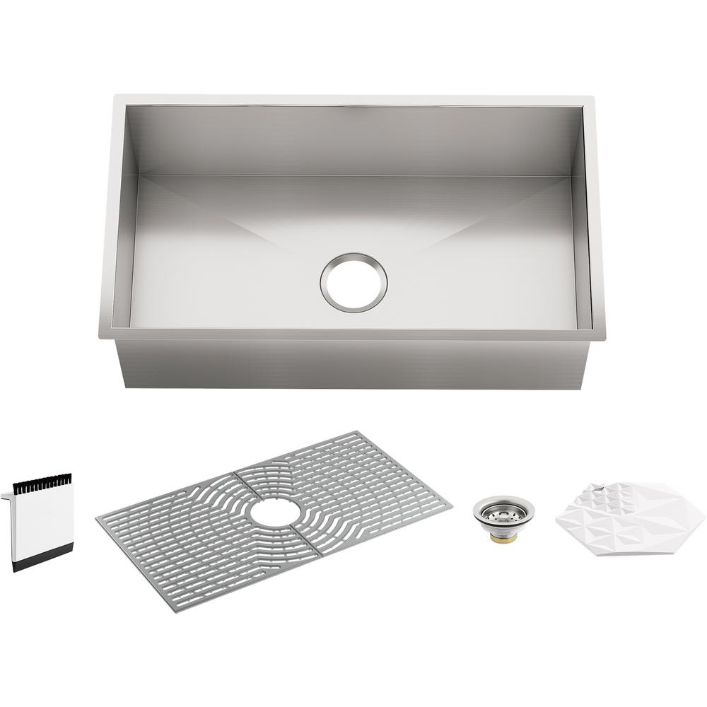 STERLING Ludington Undermount Stainless Steel 32 in. Single Bowl Kitchen  Sink Kit