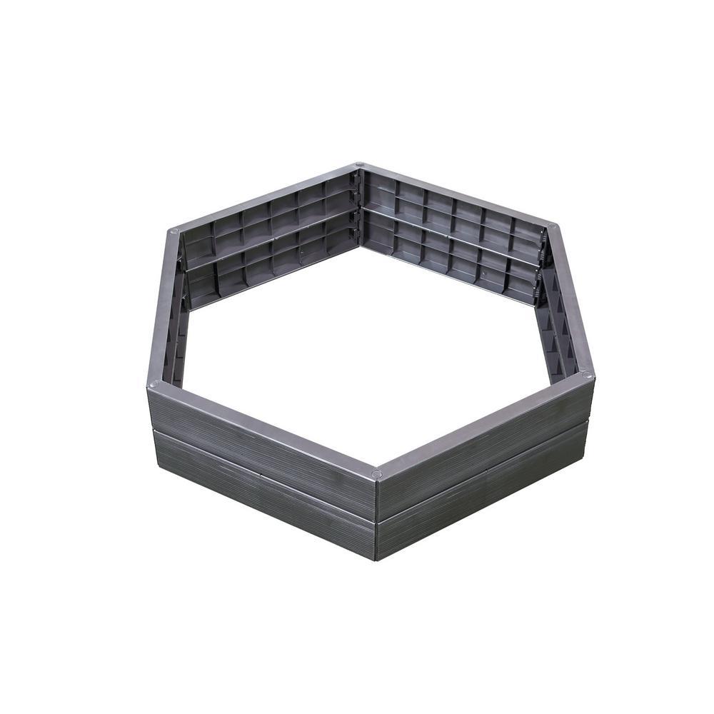 Exaco 43.5 in. W x 43.5 in. L x 10 in. H Anthracite Hexagonal Plastic Modular Raised Bed