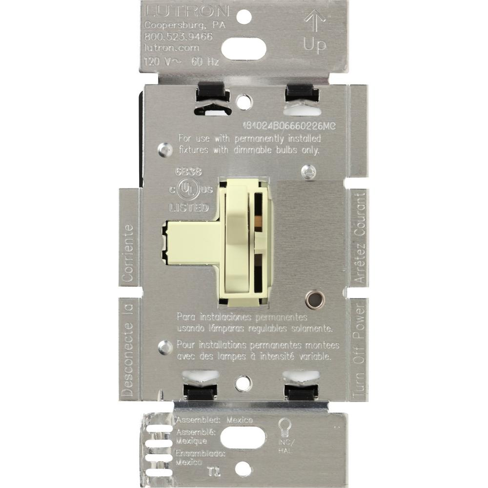 Lutron Toggler 600-Watt 3-Way Dimmer with Night Light, Almond