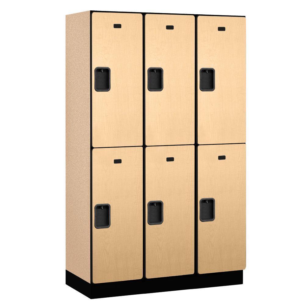 22000 Series 2-Tier Wood Extra Wide Designer Locker in Maple - 15 in. W x 76 in. H x 18 in. D (Set of 3)
