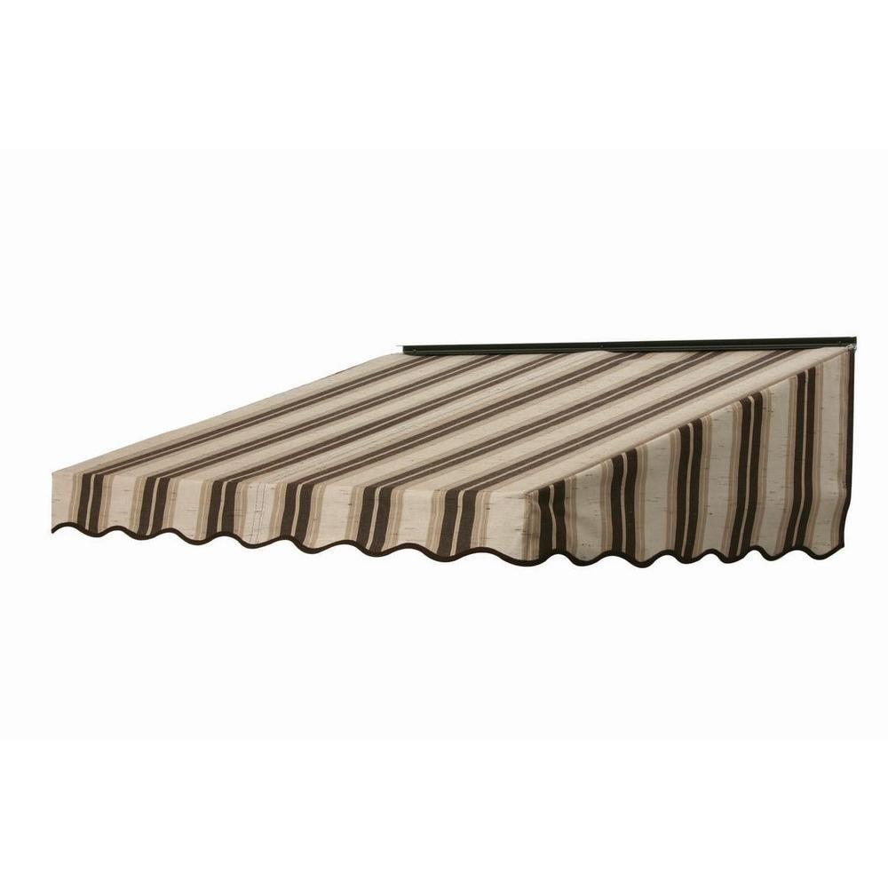 NuImage Awnings 6 ft. 2700 Series Fabric Door Canopy (19 in. H x 47 in. D) in Chocolate Chip Fancy