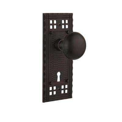 Craftsman Plate Interior Mortise New York Door Knob in Oil-Rubbed Bronze