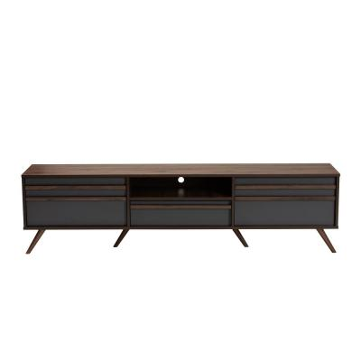 Naoki 71 in. Grey and Walnut Particle Board TV Stand Fits TVs Up to 78 in. with Cable Management