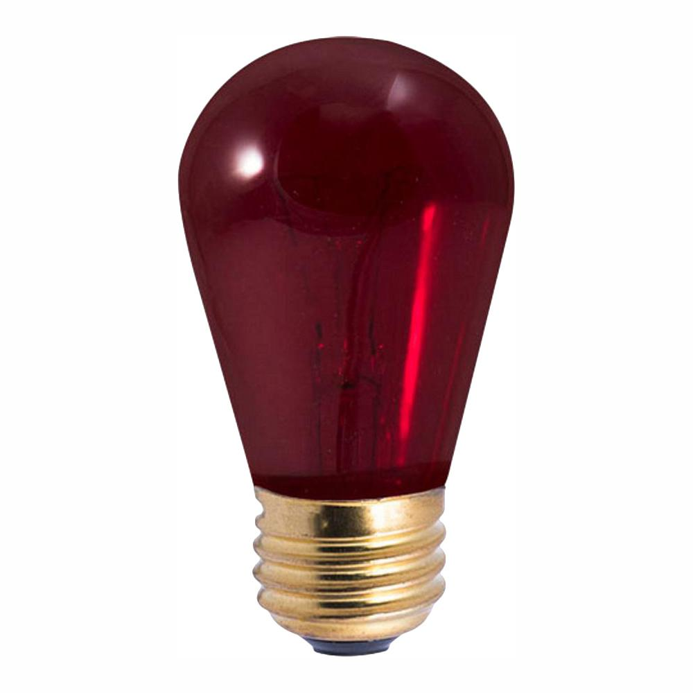 Bulbrite 11-Watt S14 Transparent Red Dimmable Incandescent