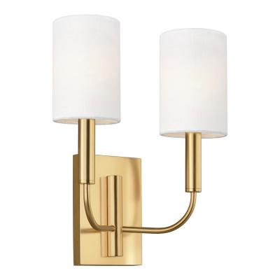ED Ellen DeGeneres Crafted by Generation Lighting Brianna 11.375 in. W 2-Light Burnished Brass Sconce with White Shades