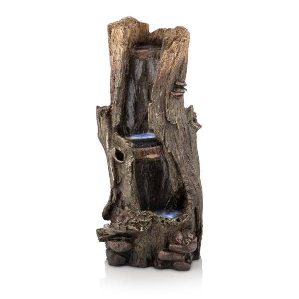 41 in. Tall Outdoor Rainforest Waterfall Tree Trunk Fountain with LED Lights