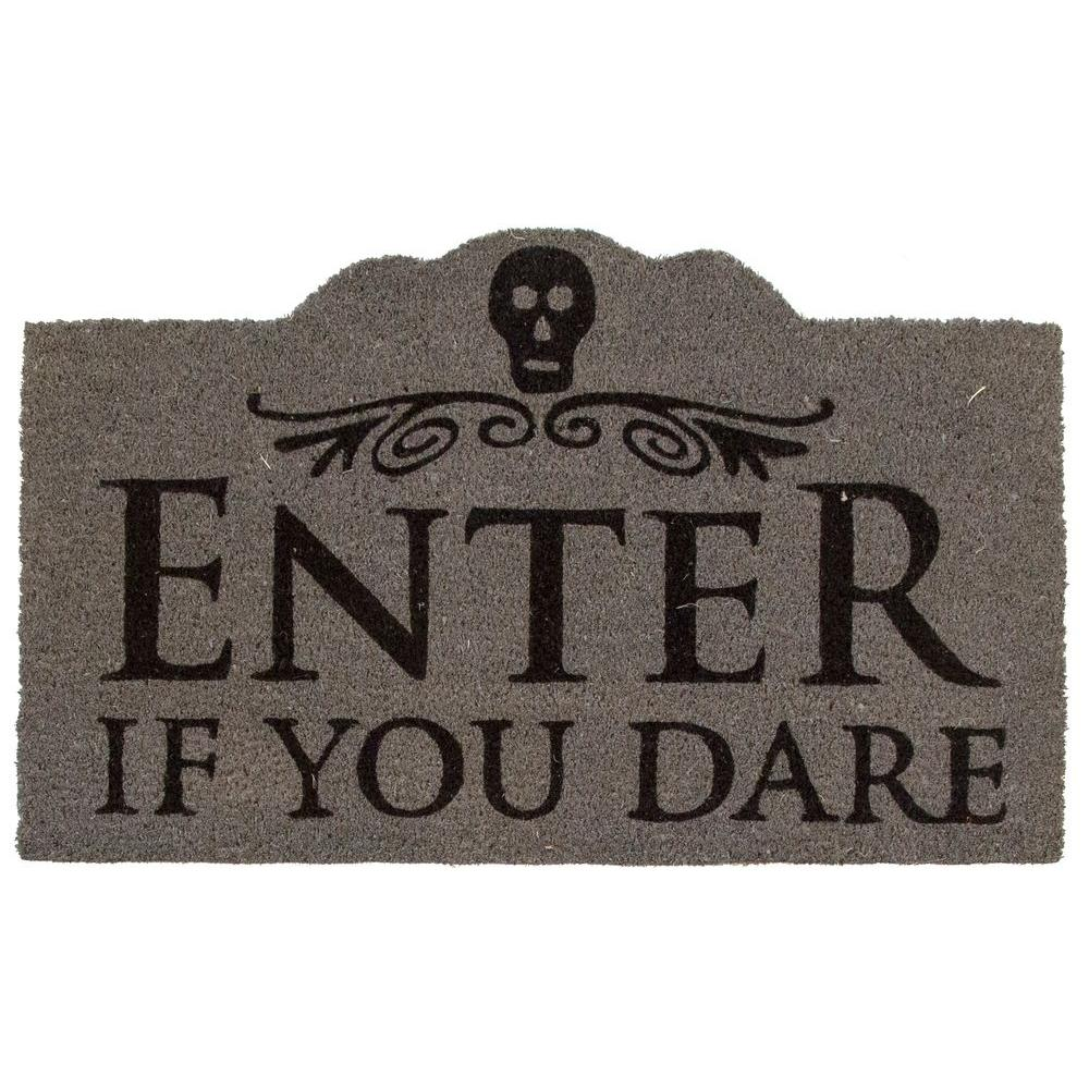entryways enter if you dare 17 in. x 28 in. non-slip coir door mat