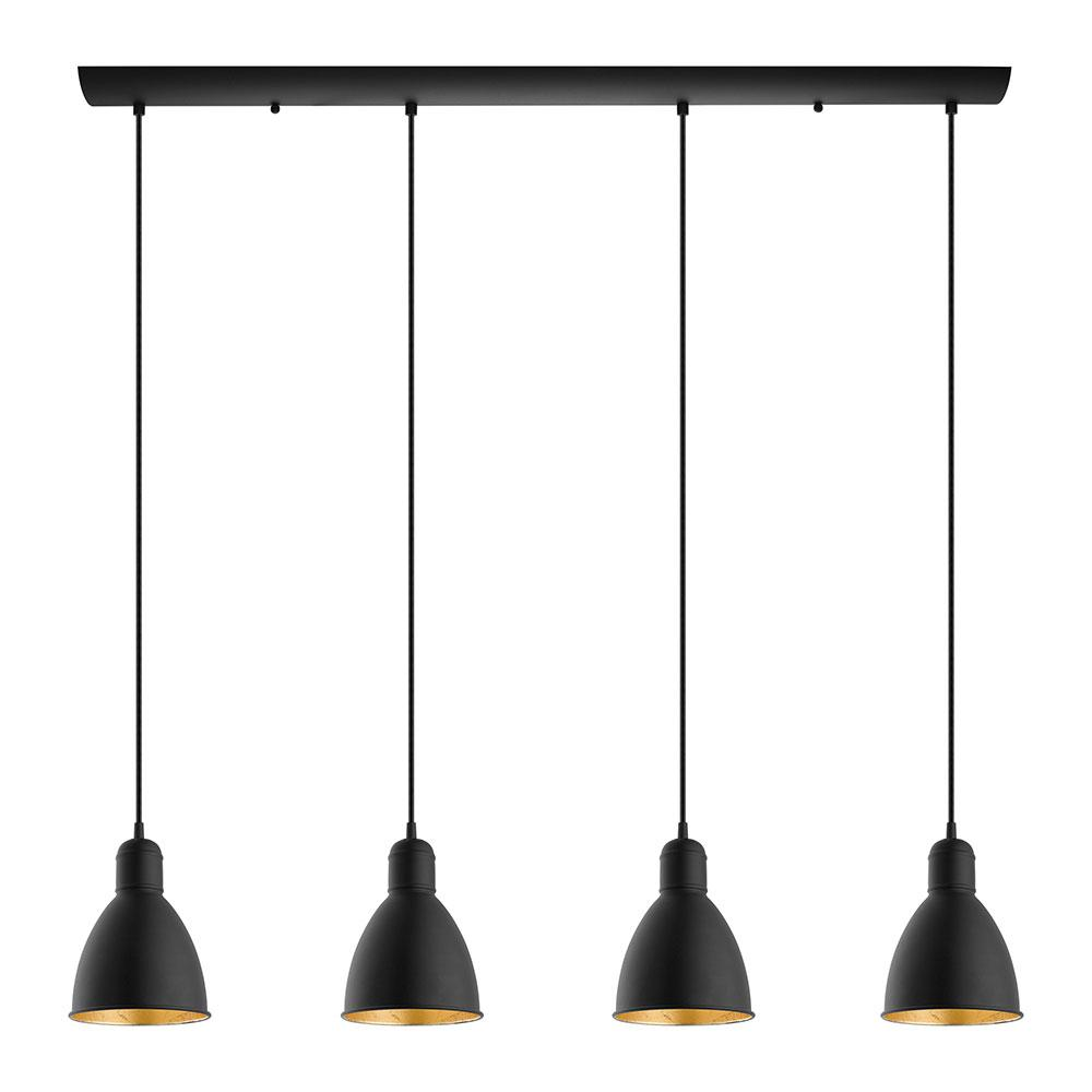 Eglo Priddy 2 4-Light 60-Watt Multi Light Linear Pendant with Black Exterior