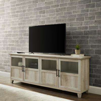 White Oak TV Stand with Glass and Wood Panel Doors For TV's Up to 78 in.