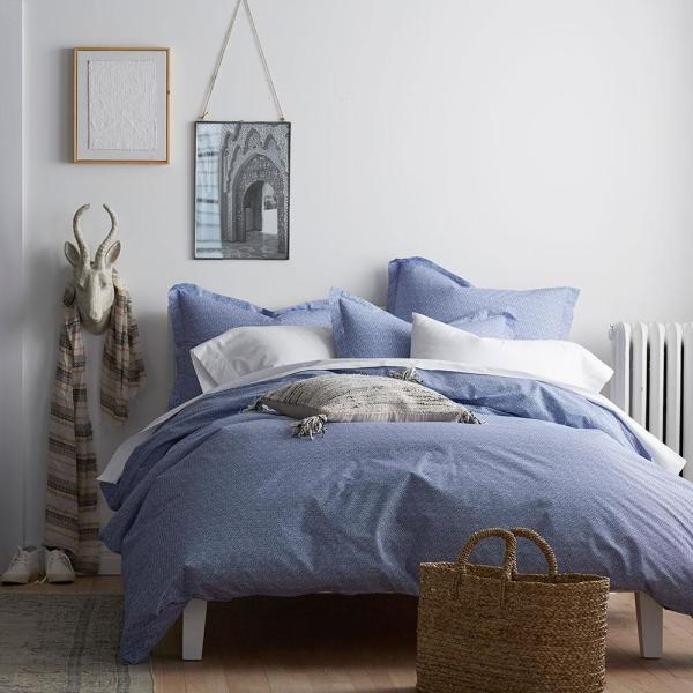 On Point Cobalt Blue Geometric Organic Cotton Percale Queen Duvet Cover