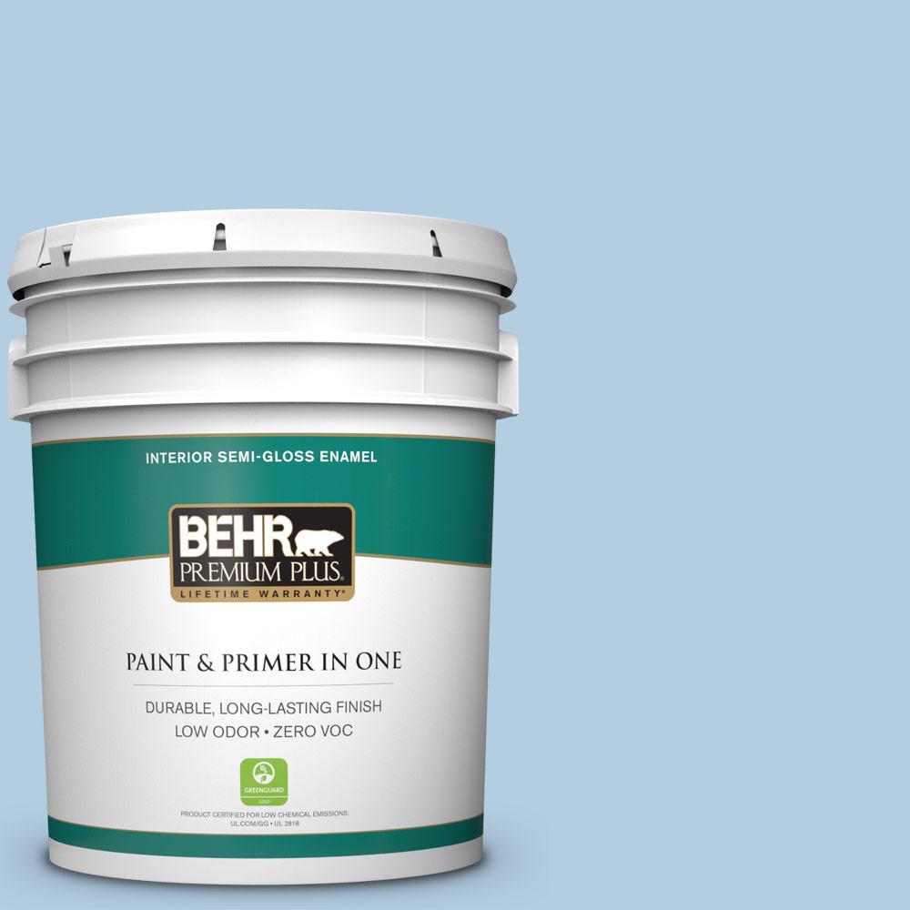 5 gal. #PPU14-14 Crystal Waters Zero VOC Semi-Gloss Enamel Interior Paint
