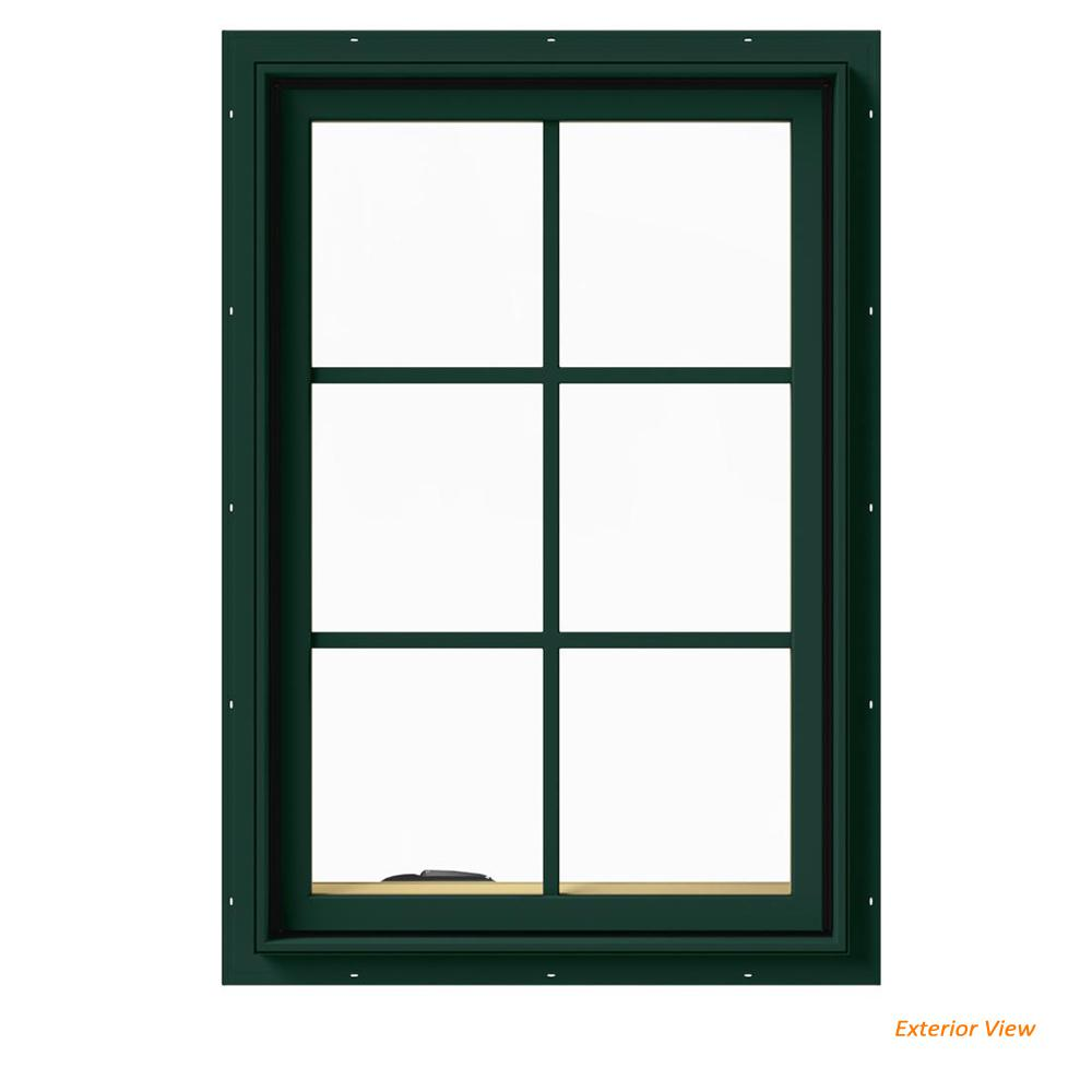 24 in. x 36 in. W-2500 Series Green Painted Clad Wood