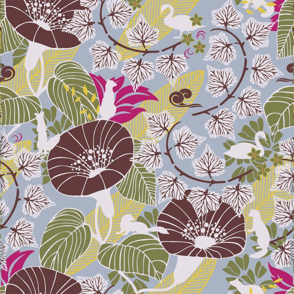 Brewster Mabel Blue Floral Medley Wallpaper Sample