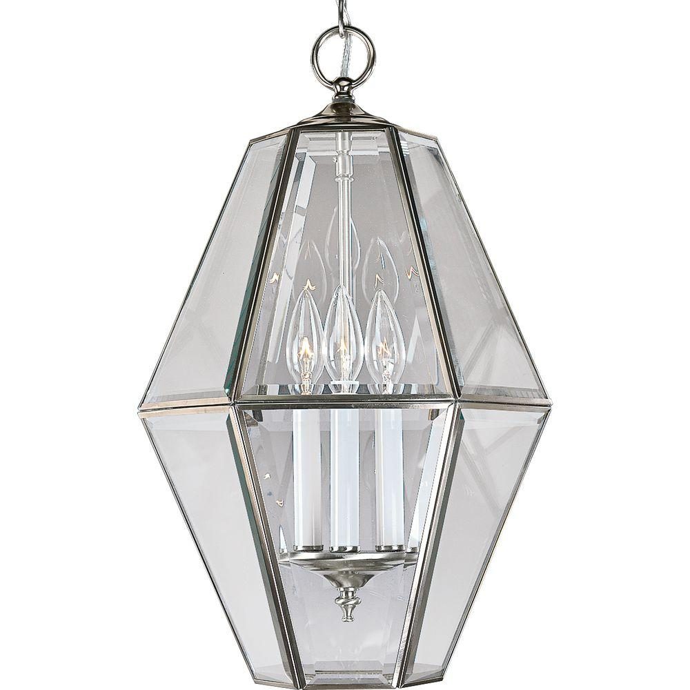 Progress Lighting 3-Light Brushed Nickel Foyer Pendant wi...