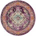 Monaco Violet/Light Blue 5 ft. x 5 ft. Round Area Rug
