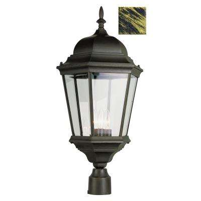 Classical 26.75 in. 3-Light Black Gold Outdoor Postmount Lantern