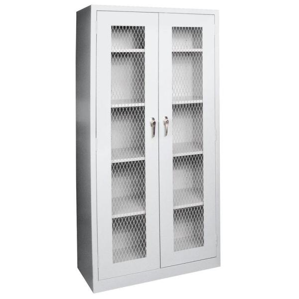 72 in. H x 36 in. W x 24 in. D Freestanding Expanded Metal Front Steel Cabinet in Dove Gray