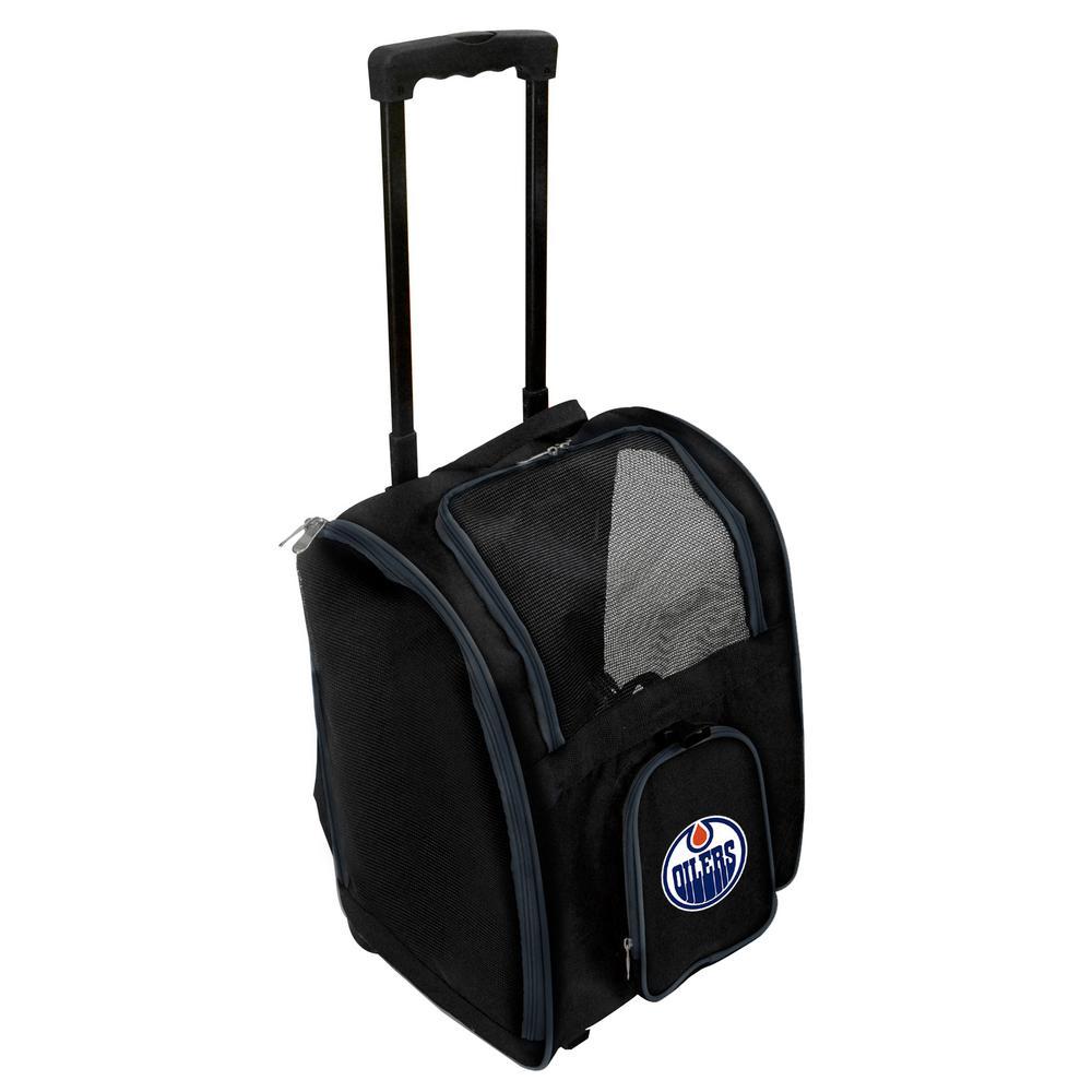 Denco NHL Edmonton Oilers Pet Carrier Premium Bag with wheels in Navy by Denco