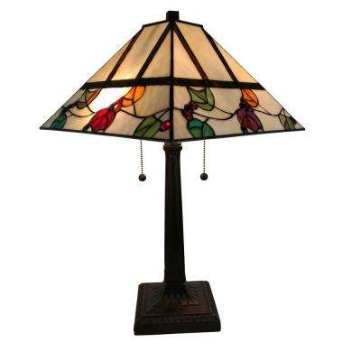 22 in. Multicolored Tiffany Style Berries/Leaves Mission Table Lamp