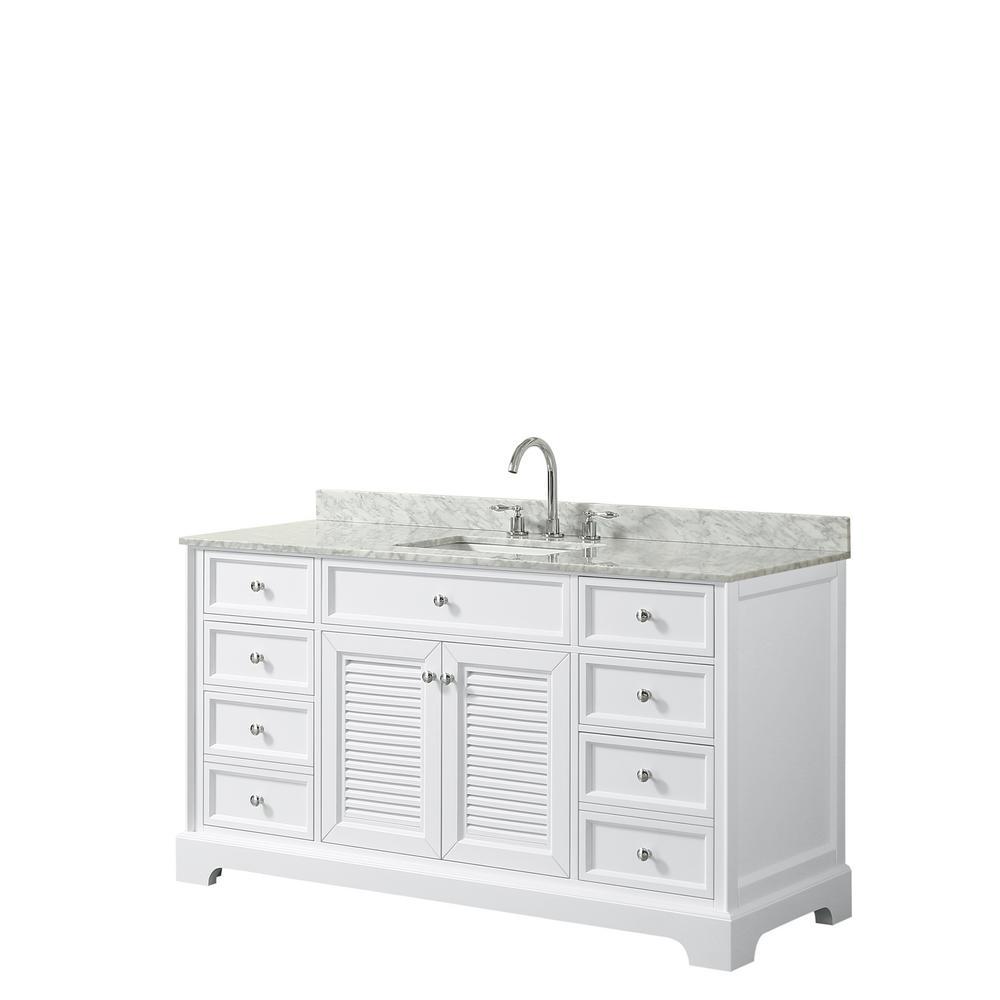 Tamara 60.5 in. Single Bathroom Vanity in White with Marble Vanity Top in White Carrara with White Basins