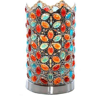 Poetic Wanderlust by Tracy Porter 10.5 in. Multi-Colored Table Lamp with Fairlea Jeweled Chrome Shade