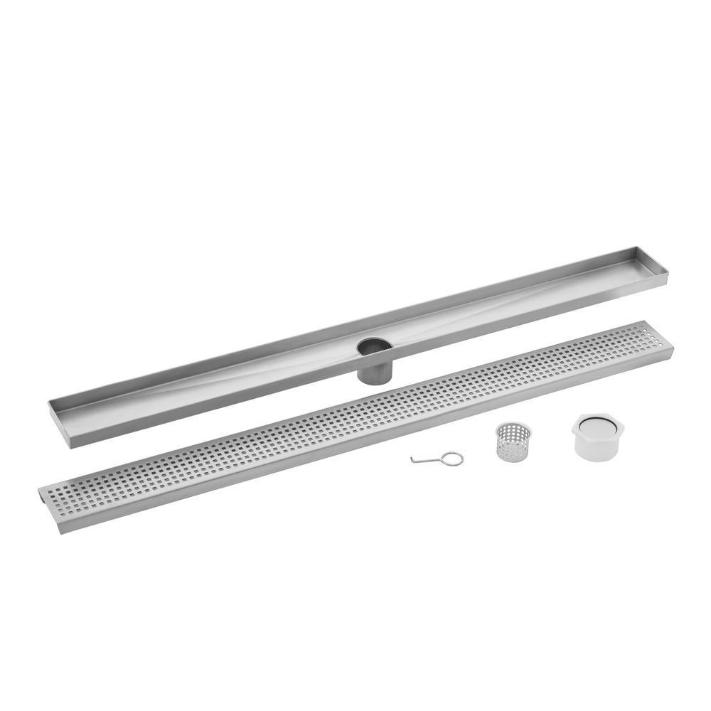 30 in. Stainless Steel Square Grate Linear Shower Drain
