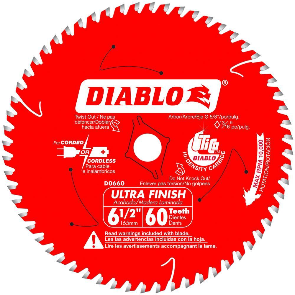 Diablo 6-1/2 x 60T Ultra Finish Saw Blade