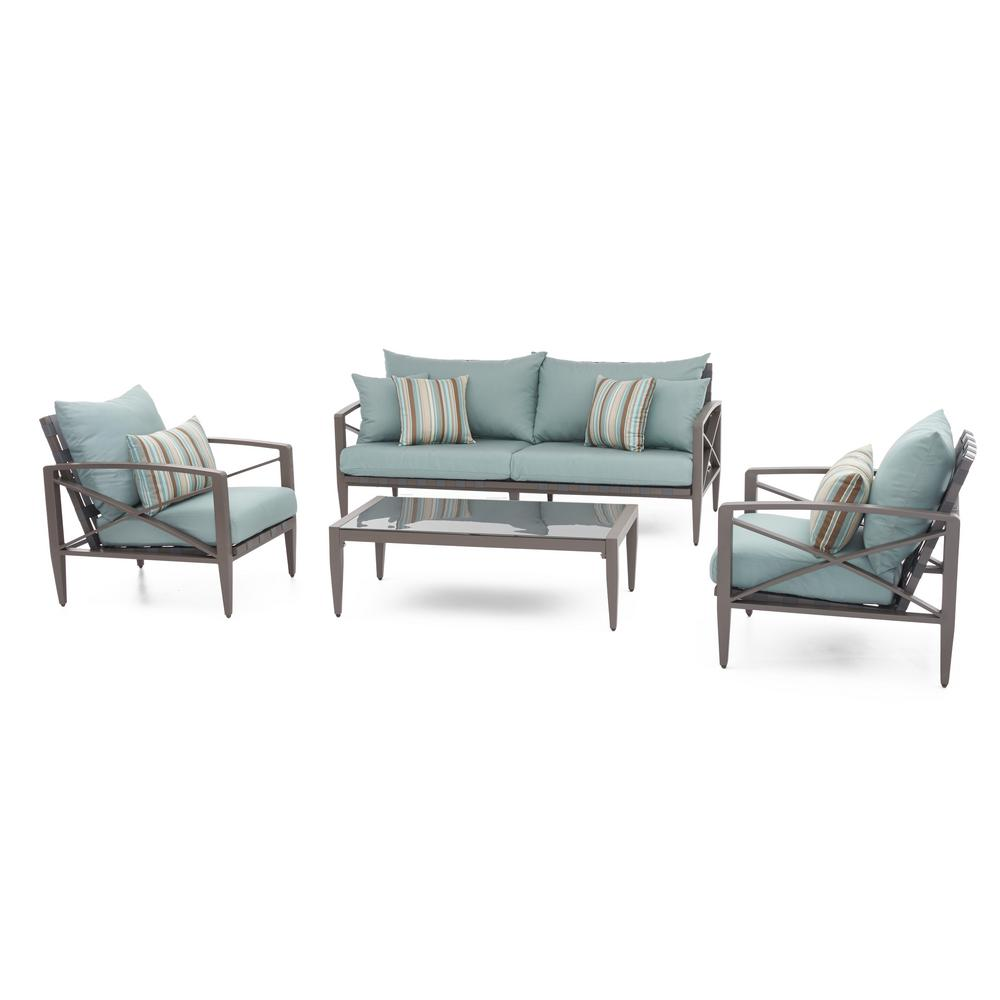 Knoxville Taupe 4-Piece Aluminum Patio Seating Set with Bliss Blue Cushions