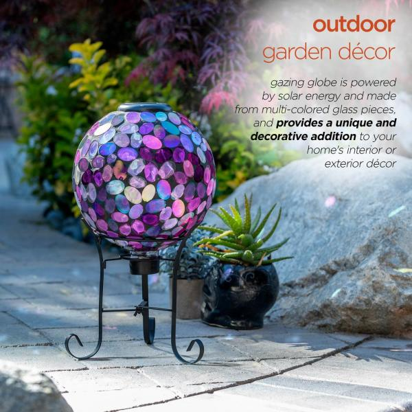 Alpine Corporation Outdoor Solar Powered Pink Glass Mosaic Gazing Globe With Led Lights And Metal Stand Violet Grs648a Slr The Home Depot