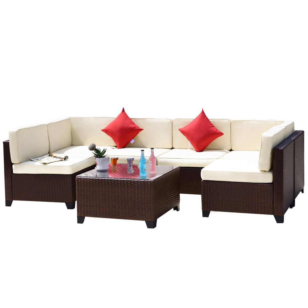 Crawford & Burke Iquitos Brown 7-Piece Wicker Outdoor Sectional Set with  Tan Cushions