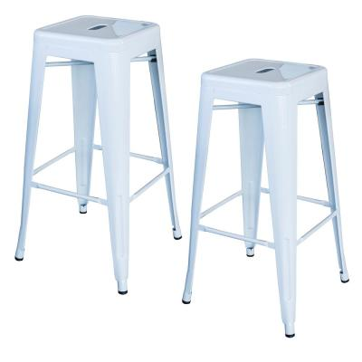 Loft Style 30 in. Stackable Metal Bar Stool in White (Set of 2)