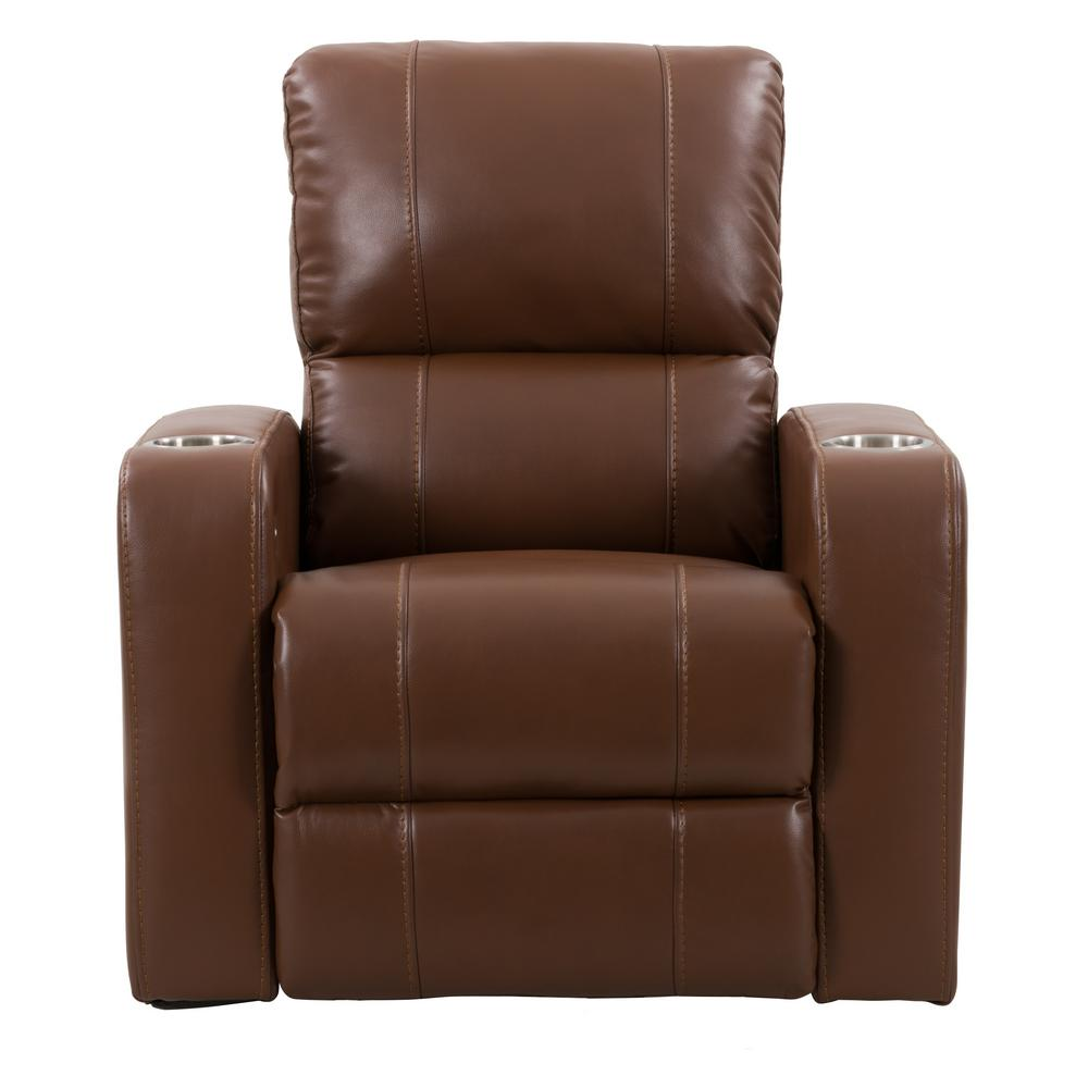 CorLiving Tucson Home Theater Single Black Leather Gel Power Recliner with Stainless Steel Cup Holders LRB 101 R The Home Depot