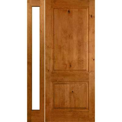 46 in. x 80 in. Rustic Unfinished Knotty Alder Square-Top Left-Hand Left Full Sidelite Clear Glass Prehung Front Door