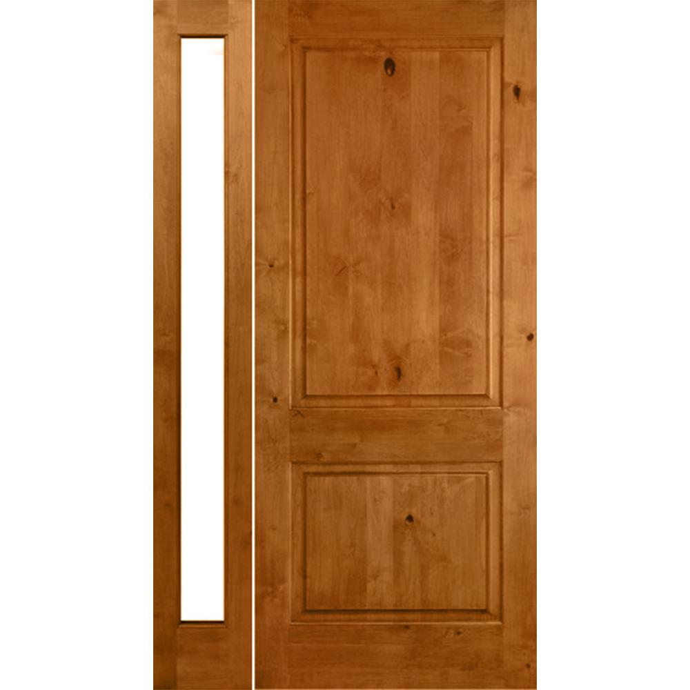 Krosswood Doors 46 in. x 80 in. Rustic Unfinished Knotty Alder Square-Top Right-Hand Left Full Sidelite Clear Glass Prehung Front Door