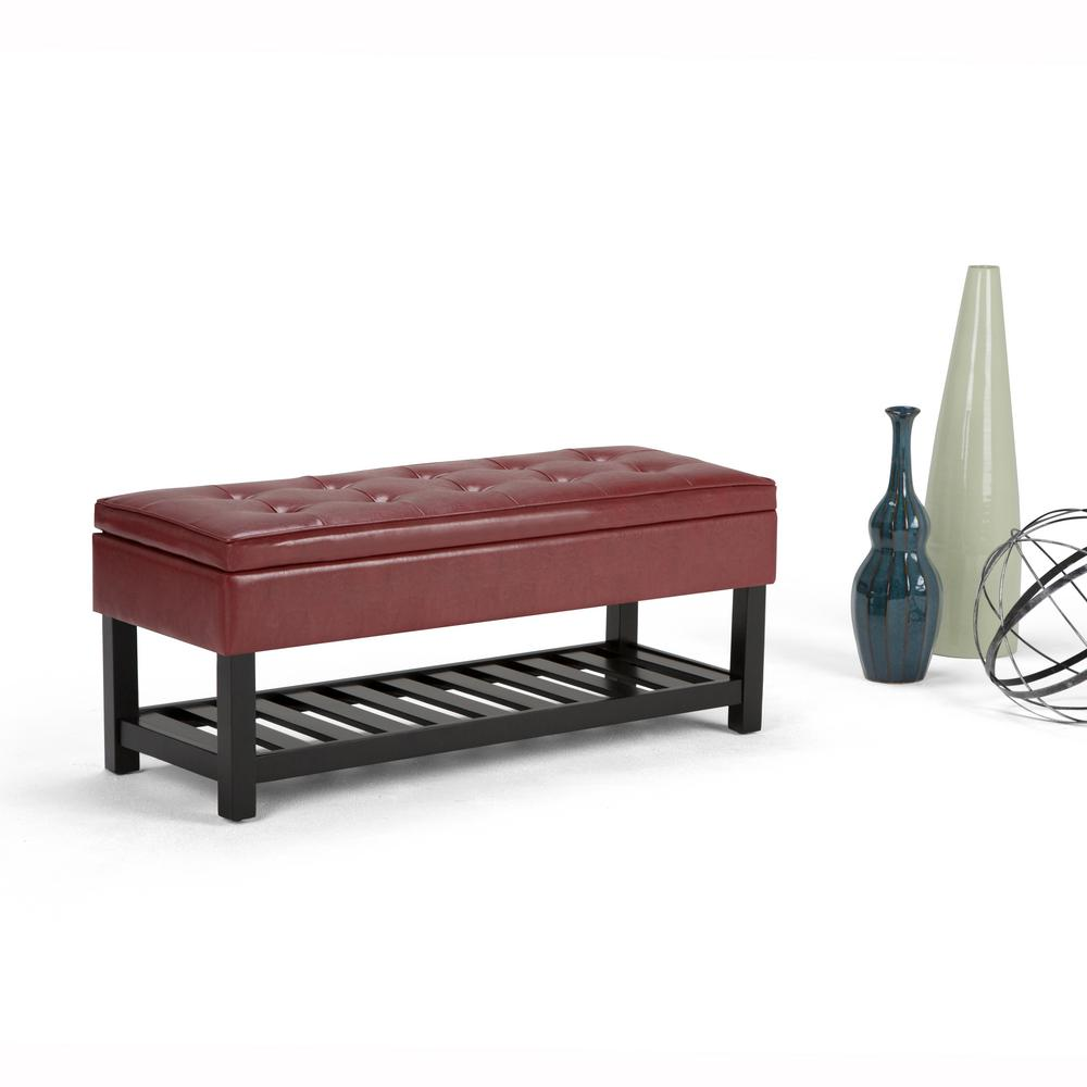 Simpli Home Cosmopolitan Radicchio Red Storage Bench Axccos Ottbnch 01 Rrd The Home Depot