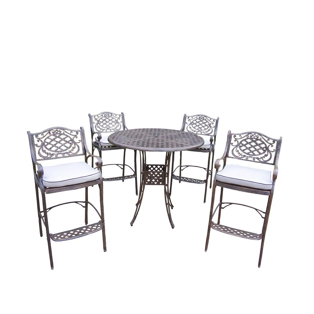Elite Mississippi 5-Piece Aluminum Outdoor Bar Height Dining Set with Oatmeal