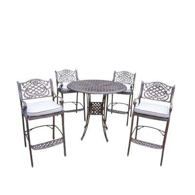 Elite Mississippi 5-Piece Aluminum Outdoor Bar Height Dining Set with Oatmeal Cushions