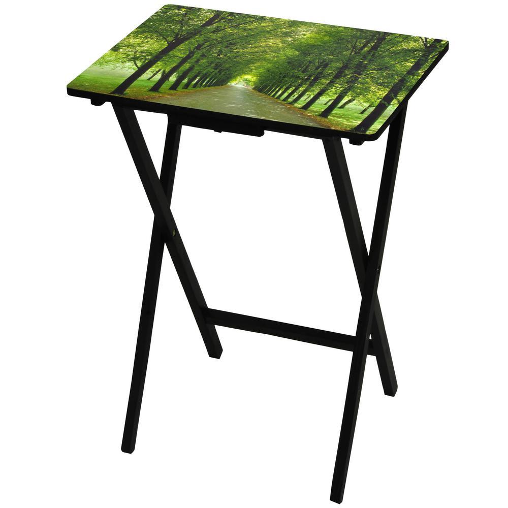 Oriental Furniture 19 in. x 13.75 in. Path of Life TV Tray in Green