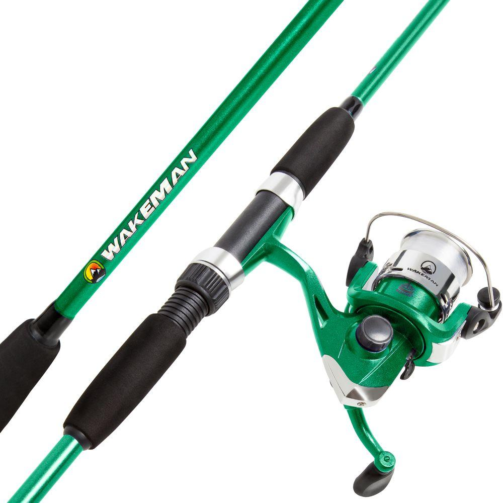 Wakeman swarm series spinning rod and reel combo in green for Best fishing combo