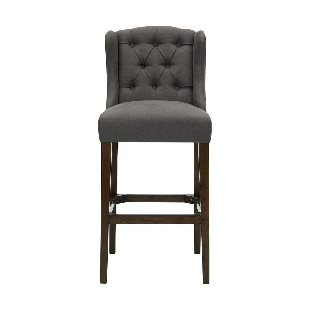 Belcrest Sable Brown Wood Upholstered Bar Stool with Back and Charcoal Seat (20.08 in. W x 44.09 in. H)