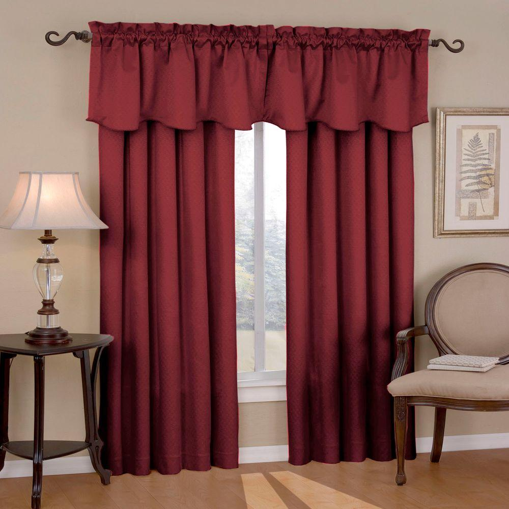 Canova Blackout Burgundy Polyester Curtain Valance, 21 in. Length