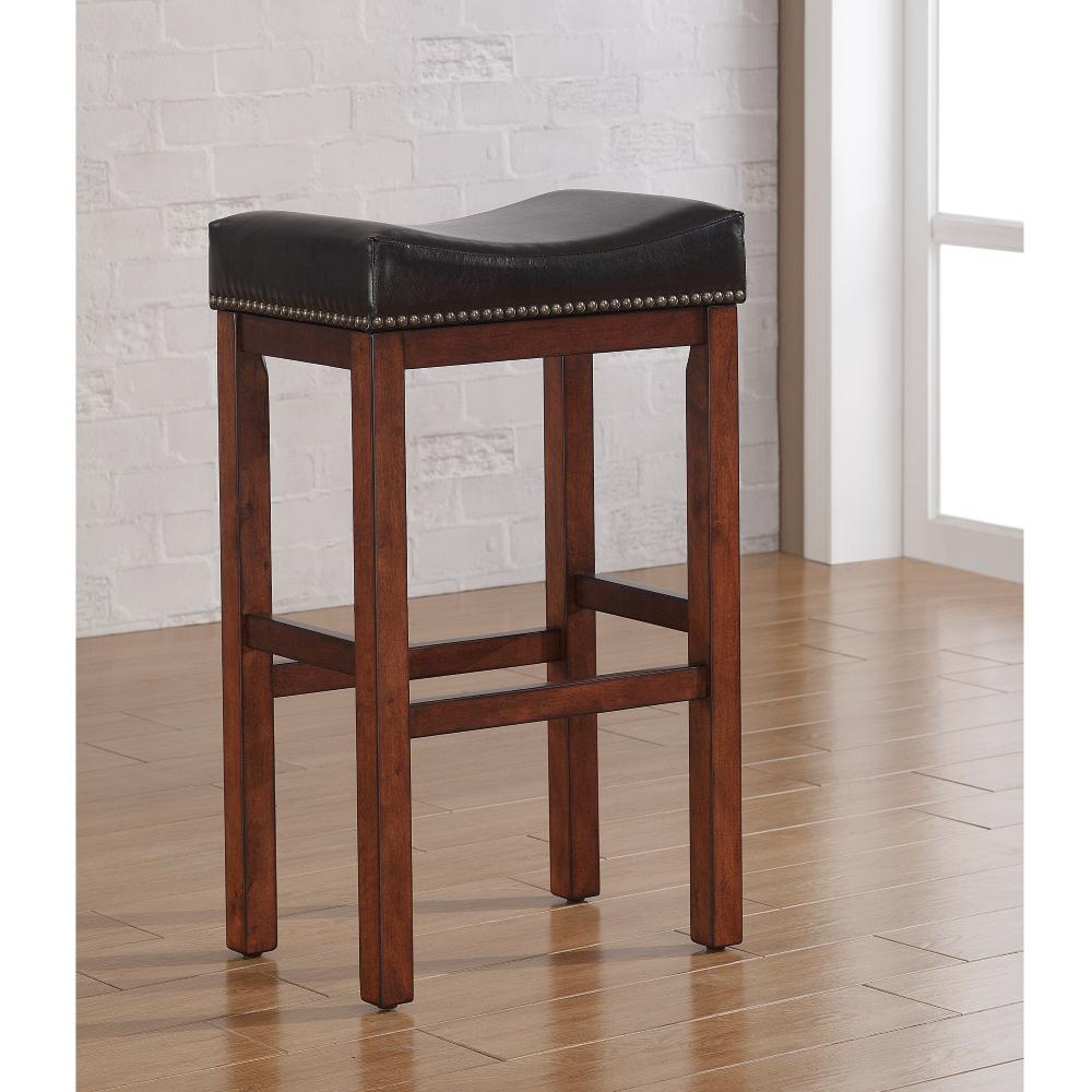 American Woodcrafters Jackson 30 In Medium Walnut Saddle Seat Bar Stool